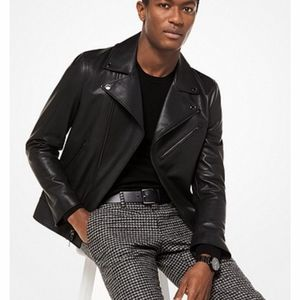 Michael Kors Mens Grained Leather Moto Jacket NWT